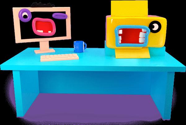 Ilustrace - Stůl s monitorem a tiskárnou