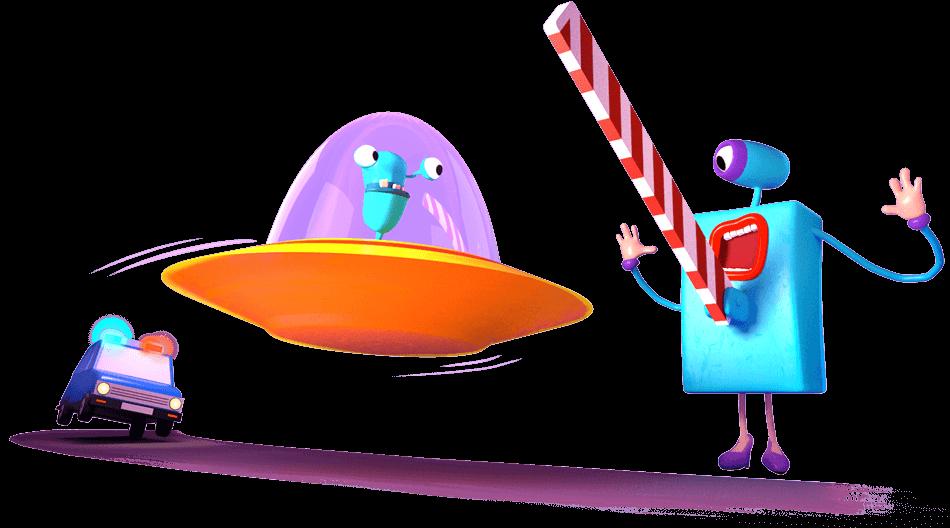 Ilustrace - policie honí UFO co prolétá SMART bránou