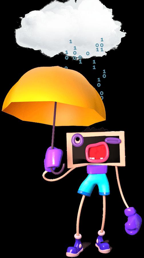 Ilustrace - Postavička monitoru drží deštník a chrání se před digitálním deštěm z Cloudu