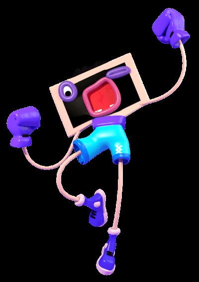 Ilustrace - Postavička obrazovky skáče do vzduchu