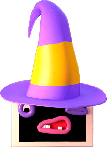 Ilustrace - Postavička monitoru má na hlavě kouzelnický klobouk