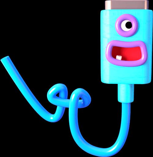Ilustrace - usmívající se kabel USB