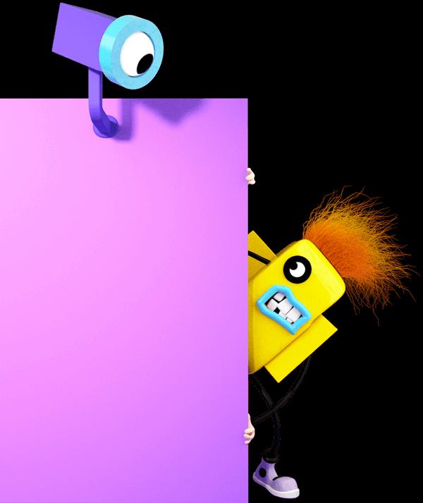 Ilustrace - Tiskárna vykukuje zpoza rohu a schovává se před kamerou